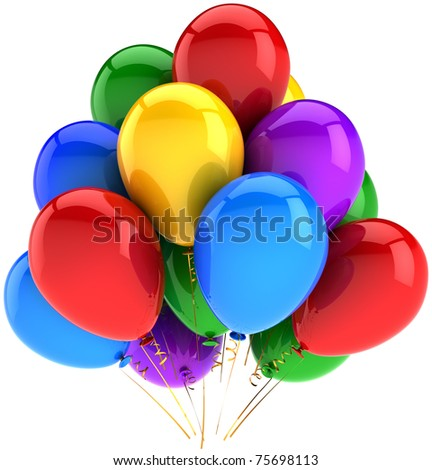 Party balloons happy birthday balloon decoration. Anniversary graduation retirement occasion greeting card concept. Happiness joy fun positive emotions abstract. 3d render isolated on white background - stock photo