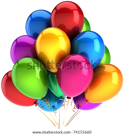 Party balloons happy birthday balloon group decoration multicolor rainbow. Anniversary graduation retirement occasion life event jubilee celebrate greeting card. 3d render isolated on white background - stock photo