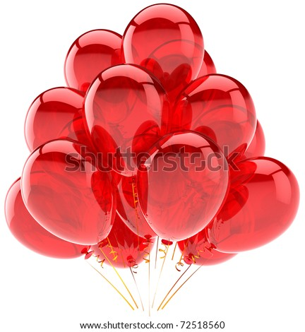 Party balloons happy birthday celebrate holiday occasion decoration red translucent. Joy happiness fun positive abstract. Greeting card concept. 3d render isolated on white background - stock photo