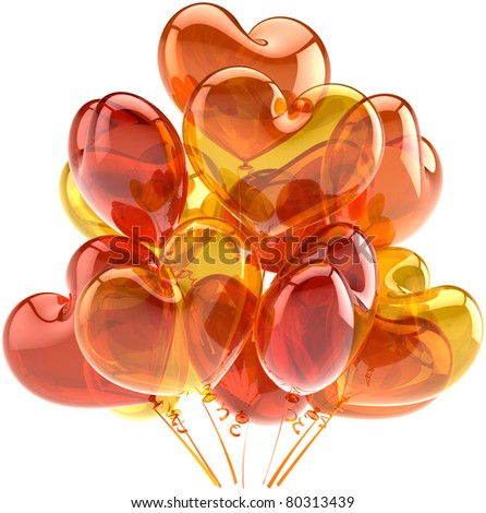 Party balloons happy birthday celebration anniversary shiny decoration heart shaped colored orange yellow. Sunny summer holiday joy fun abstract. Detailed 3d render. Isolated on white background - stock photo