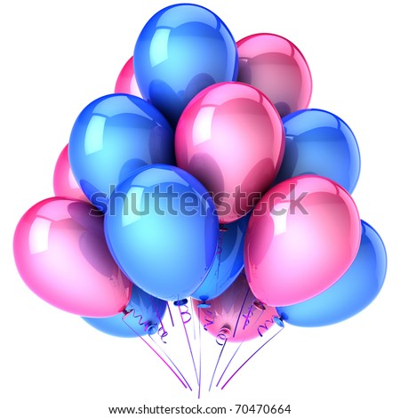 Party balloons happy birthday decoration blue pink. Anniversary graduation retirement celebration occasion life events greeting card concept. 3d render isolated on white background - stock photo