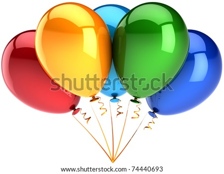 Party balloons Happy birthday decoration five 5 multicolor. Anniversary graduation retirement celebration new year christmas greeting card concept. Detailed 3d render. Isolated on white background - stock photo
