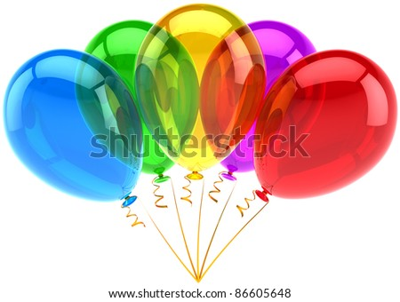 Party balloons happy birthday decoration 5 five multicolor translucent. Holiday anniversary retirement graduation celebrate concept. Joy fun abstract. Detailed 3d render. Isolated on white background - stock photo