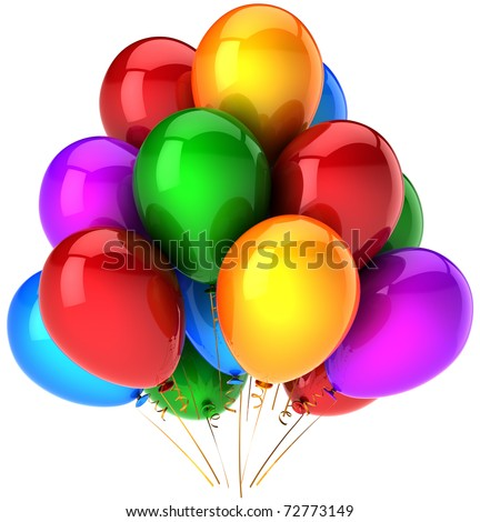 Party balloons happy birthday decoration multicolor. Beautiful colorful shiny celebrate greeting card concept. Joy fun positive emotion good abstract. Detailed 3d render. Isolated on white background - stock photo