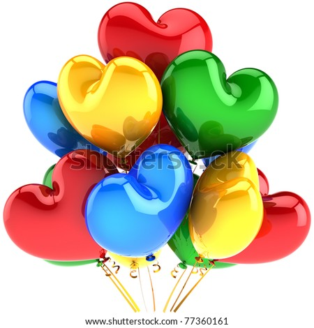 Party balloons happy birthday decoration multicolor heart shaped. Love romantic marriage wedding celebration greeting card concept. 3d render isolated on white background