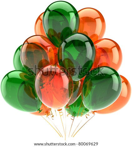 Party balloons happy birthday decoration orange green translucent. Joy fun positive abstract. Holiday celebrate anniversary greeting card concept. Detailed 3d render. Isolated on white background