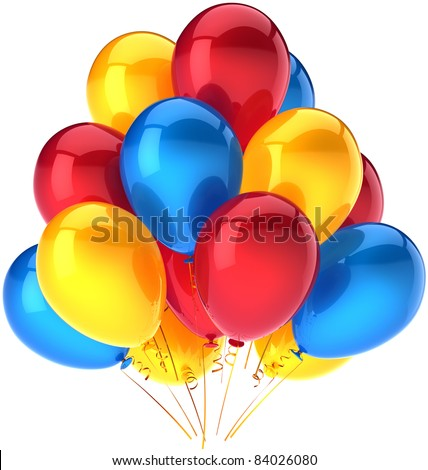 Party balloons happy birthday decoration red yellow blue multicolor. Holiday anniversary graduation retirement celebration greeting card concept. Detailed 3d render. Isolated on white background - stock photo