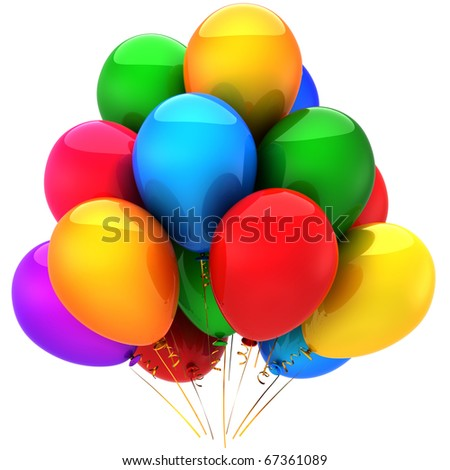 Party balloons happy birthday holiday decoration. New years eve merry christmas. Positive joyful funny joy good emotion abstract. Greeting card design element. 3d render isolated on white background