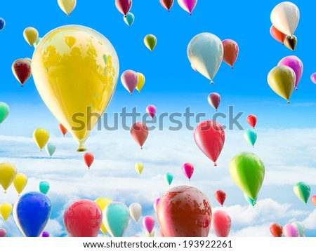 Party balloons in the sky  - stock photo