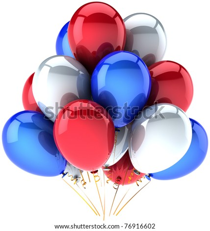 Party balloons Independence Day colored red white blue decoration birthday celebration anniversary greeting card. USA Independence Day 4th of july national celebrate greeting card. 3d render isolated - stock photo