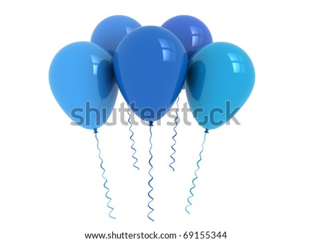 Party balloons isolated on white background - stock photo
