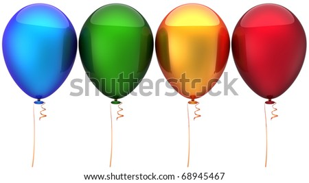 Party balloons multicolor. Modern birthday celebrate decoration. Positive happy fun joy good emotions concept. Greeting card design element. Detailed 3d render. Isolated on white background - stock photo