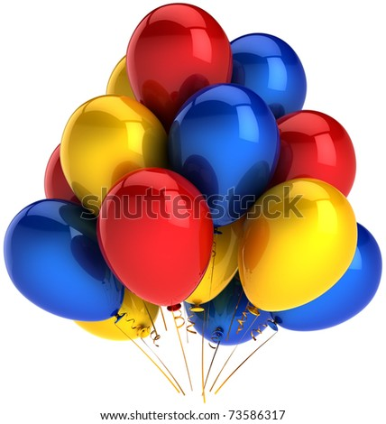 Party balloons multicolor red blue yellow. Shiny colorful decoration for birthday holiday celebration. Joyful fun happiness emotion abstract. This is a detailed render 3D. Isolated on white background
