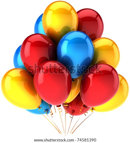 Party balloons multicolored colorful birthday decoration joy positive emotions concept. Holiday weekend celebrate show performance greeting card. 3d render isolated on white background - stock photo