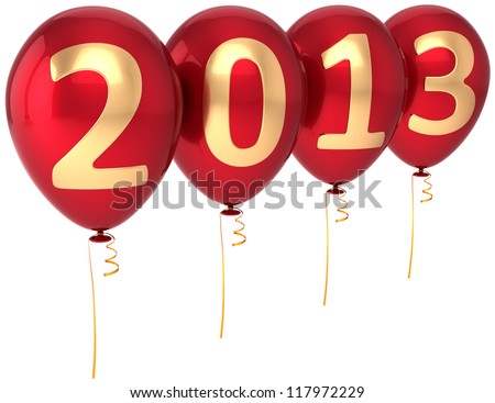 Party balloons New Year 2013 Christmas occasion decoration. Red balloon decorated with gold text. Future begin calendar date countdown. Detailed 3d render. Isolated on white background