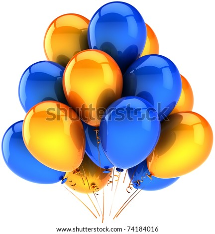 Party balloons orange blue yellow birthday decoration modern shiny anniversary retirement holiday carnival life events greeting card design element. 3d render isolated on white - stock photo