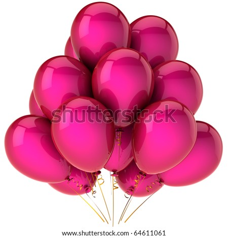 Party balloons pink blank birthday valentine's day 14 february honeymoon marriage romantic love anniversary graduation retirement decoration greeting card design element. 3d render isolated - stock photo