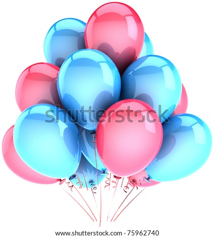 Party balloons pink cyan blue colorful decoration holiday birthday anniversary celebration  anniversary retirement elegance greeting card design element. 3d render isolated on white background - stock photo