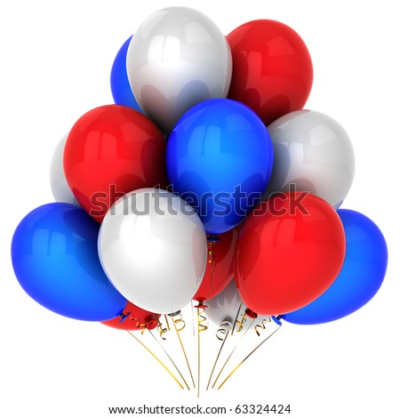 Party balloons red blue white. Happy birthday occasion anniversary graduation retirement holiday sale concept. New Year Merry christmas greeting card. Detailed 3d render. Isolated on white background - stock photo