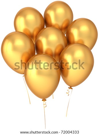 Party balloons seven colored golden. Shiny birthday celebration decoration. Joyful happiness abstract. This is a detailed render 3d (Hi-Res). Isolated on white background