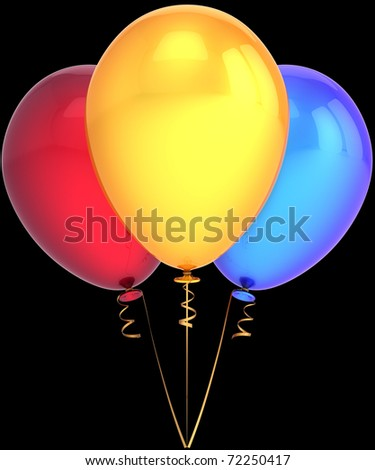 Party balloons shiny colorful red yellow blue. Beautiful modern decoration. Birthday happiness joyful abstract. This is a detailed three-dimensional render 3D (Hi-Res). Isolated on black background - stock photo