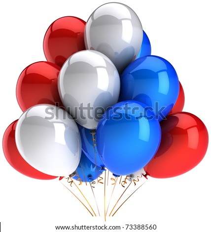 Party balloons 4th of July Independence Day red white blue colorful. Happy birthday anniversary celebrate picnic decoration. Positive emotion abstract. Detailed 3d render. Isolated on white background - stock photo