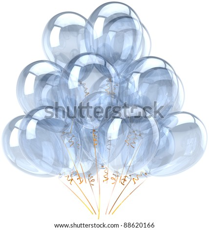 Party balloons white happy birthday balloon decoration blank bubbles translucent clean. Anniversary graduation retirement celebrate greeting card concept. Positive joy fun abstract. 3d render isolated - stock photo