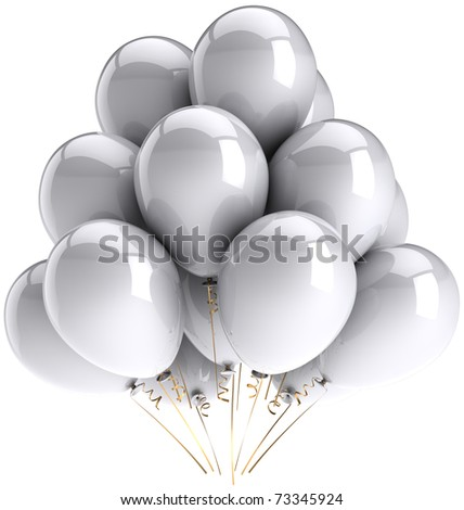 Party balloons white Happy Birthday celebrate decoration classic. Anniversary graduation holiday celebrate Christmas greeting card concept. Detailed 3d render. Isolated on white background - stock photo