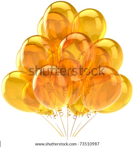 Party balloons yellow gold golden balloon translucent baloons. Beautiful happy birthday celebrate decoration. Joy fun happiness holiday positive emotion concept. 3d render isolated on white background - stock photo