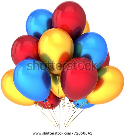 Party balloons yellow red blue balloon decoration colorful birthday holiday festival celebrate anniversary graduation retirement greeting card design element. 3d render isolated on white background