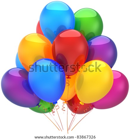 Party birthday balloons balloon decoration multicolor baloon. Holiday graduation anniversary retirement celebration greeting card concept. Joy positive icon. 3d render isolated on white background - stock photo