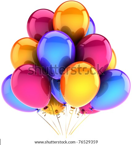 Party birthday balloons multicolor balloon decoration baloons. Happy joy fun positive emotion abstract. Anniversary jubilee celebration greeting card concept. 3d render isolated on white background