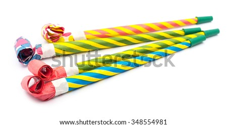 Party blower on white - stock photo