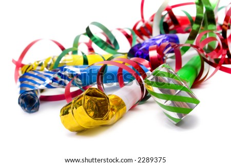 Party blowers and paper streamers - stock photo