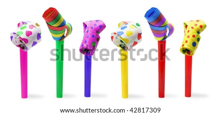 Party Blowers on Isolated White Background - stock photo