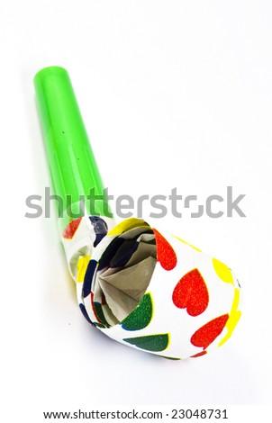 party blusher on white background - stock photo