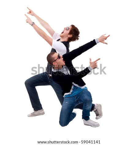 party boys screaming and pointing to both sides, over white - stock photo