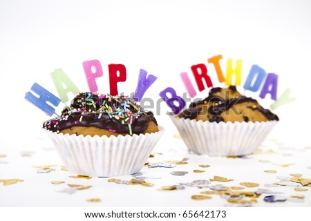 Party Candles on a Slice of Birthday Cake - stock photo
