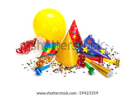 Party caps, confetti and streamers - stock photo