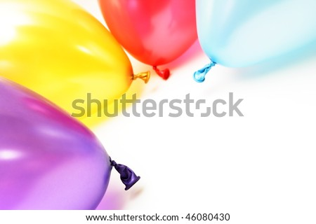 Party color balloons on white background with copy space - stock photo