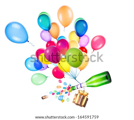party concept with gift, champagne and flying balloons - stock photo
