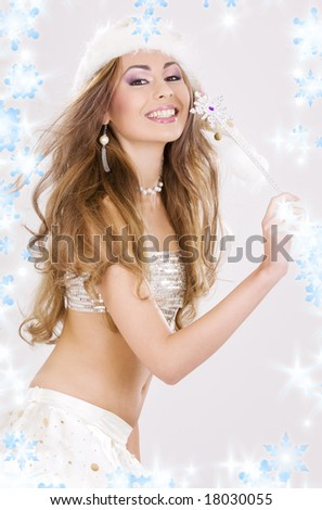party dancer girl with magic wand in santa helper costume - stock photo