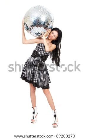 Party dancer with disco ball isolated on white background