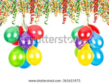 Party decoration. Air balloons, confetti and serpentine on white background - stock photo