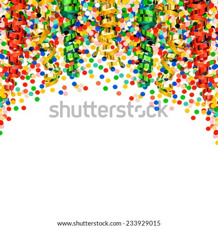 party decoration garlands, streamer and confetti on white  background - stock photo