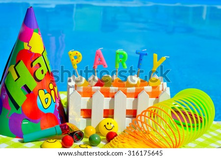 Party decoration on the swimming pool background