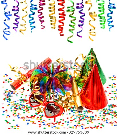 Party decoration with garlands, streamer, confetti, cracker, funny glasses on white background