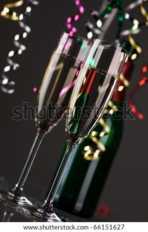 party decoration with sparkling wine glasses - stock photo