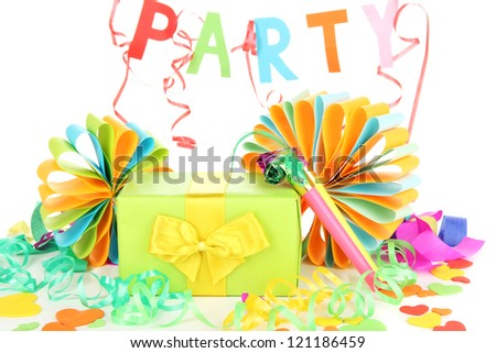 Party decorations isolated on white - stock photo