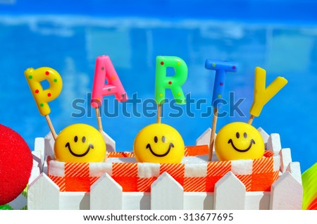 Party decorations on the swimming pool background  - stock photo